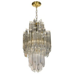Mid-Century Modern Three-Tier Triedre Cut Translucent Glass Camer Chandelier