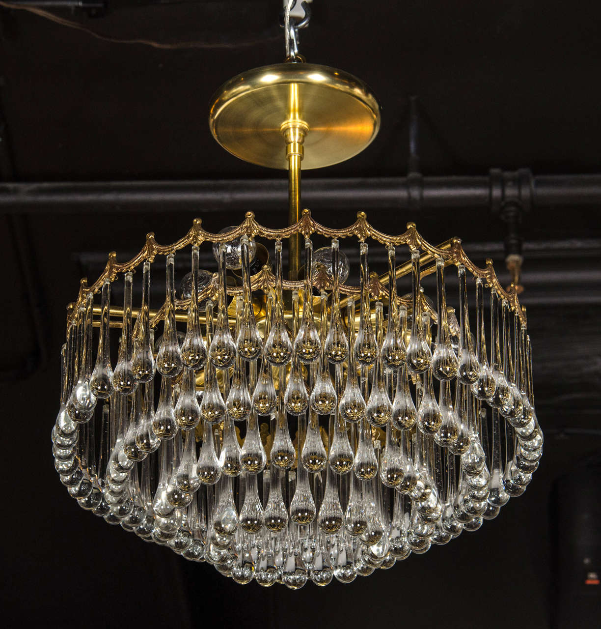 1940s hollywood four tier teardrop chandelier with brass scalloped elegant 1940s hollywood regency four tier chandelier featuring a brass frame of four tiers that aloadofball Image collections