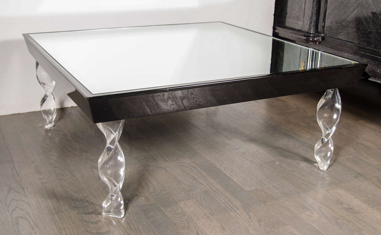 Art Deco Cocktail Table By Grosfeld House In Lucite Black Lacquer And Mirror For Sale At 1stdibs