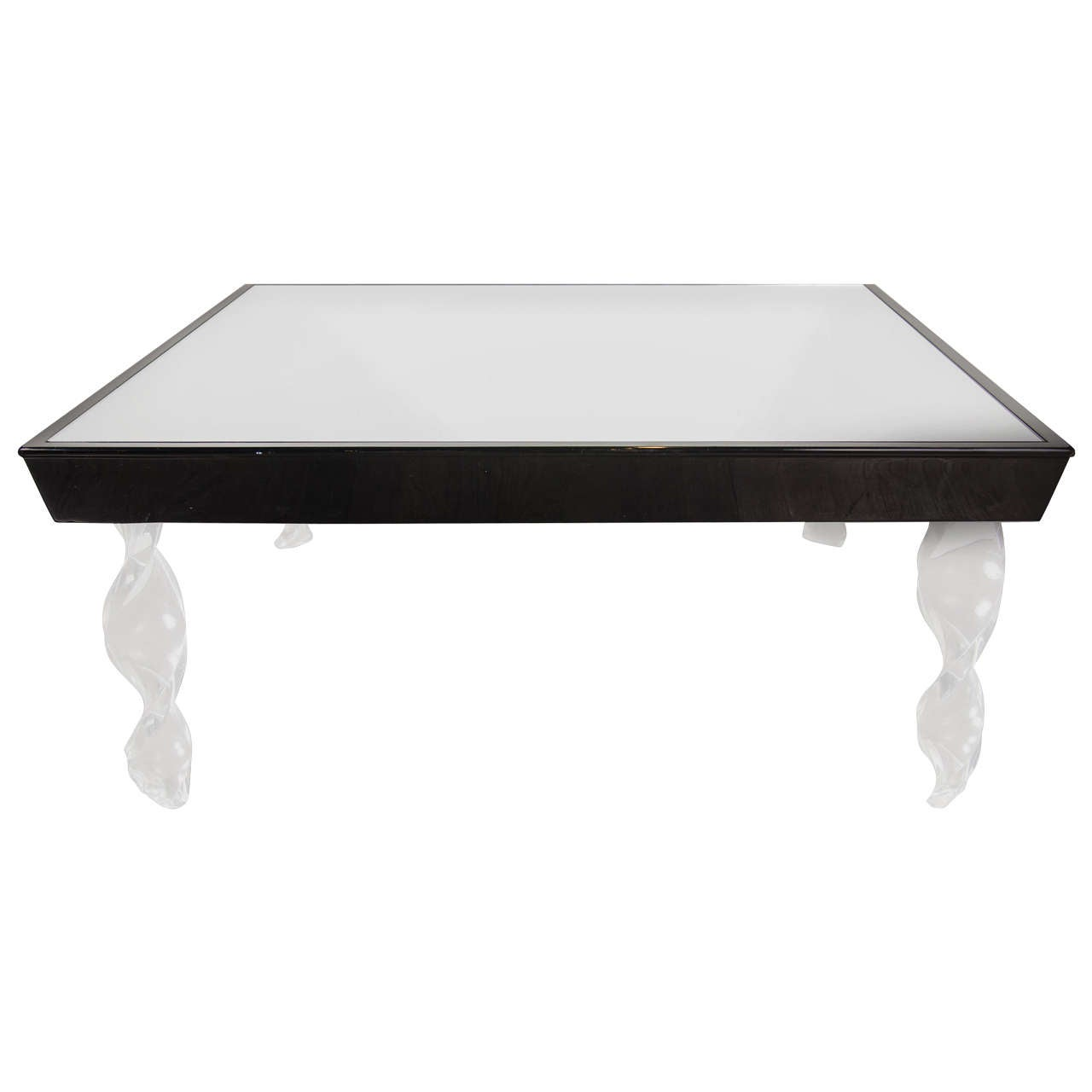 Art Deco Cocktail Table by Grosfeld House in Lucite, Black Lacquer and Mirror