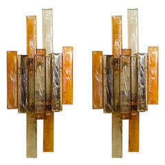 Pair of Stacked Glass Sconces by Svend Aage Holm Sorensen