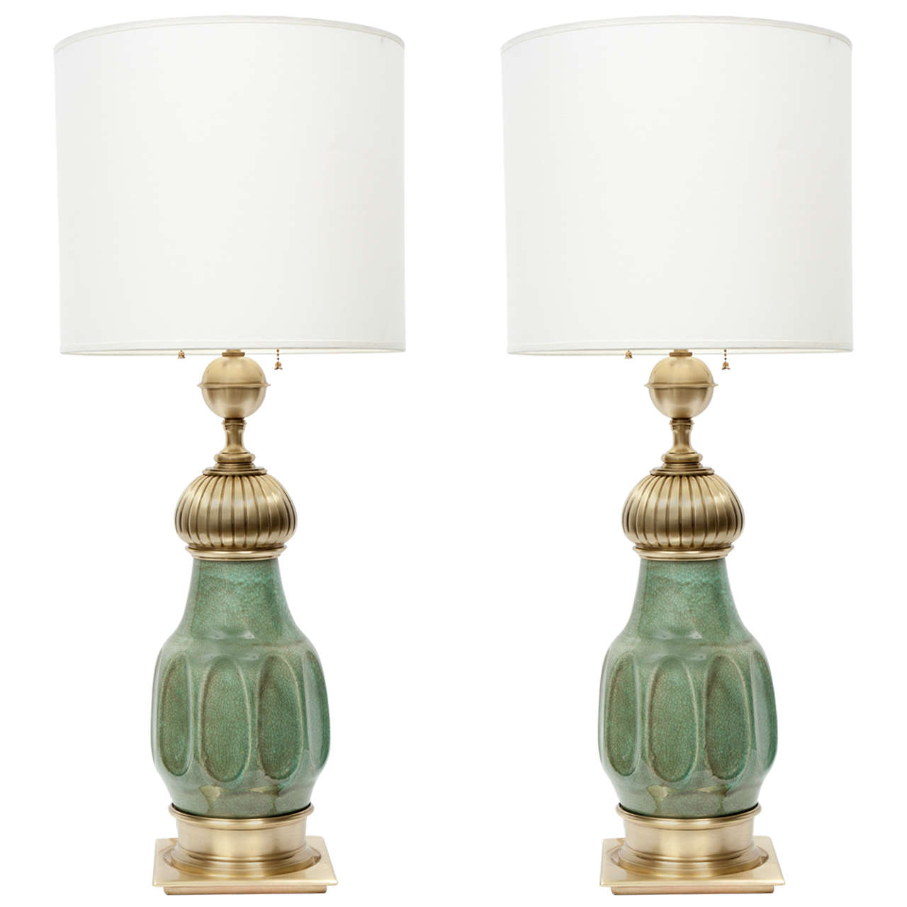 Vintage stiffel brass table lamps - Pair Of Jade Green Ceramic And Satin Brass Lamps By Stiffel 1