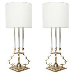 Pair of Satin Brass Candelabra Lamps by Stiffel