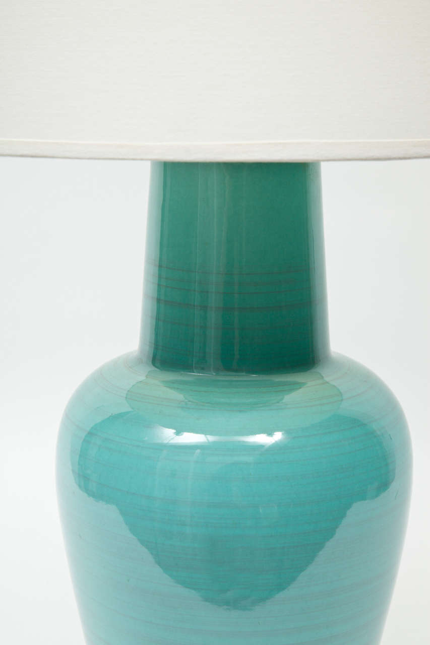 Pair Of Turquoise Glazed Ceramic Lamps By Stiffel At 1stdibs