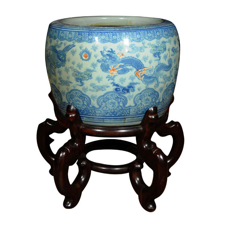 Chinese fish bowl with stand at 1stdibs for Fish bowl stand