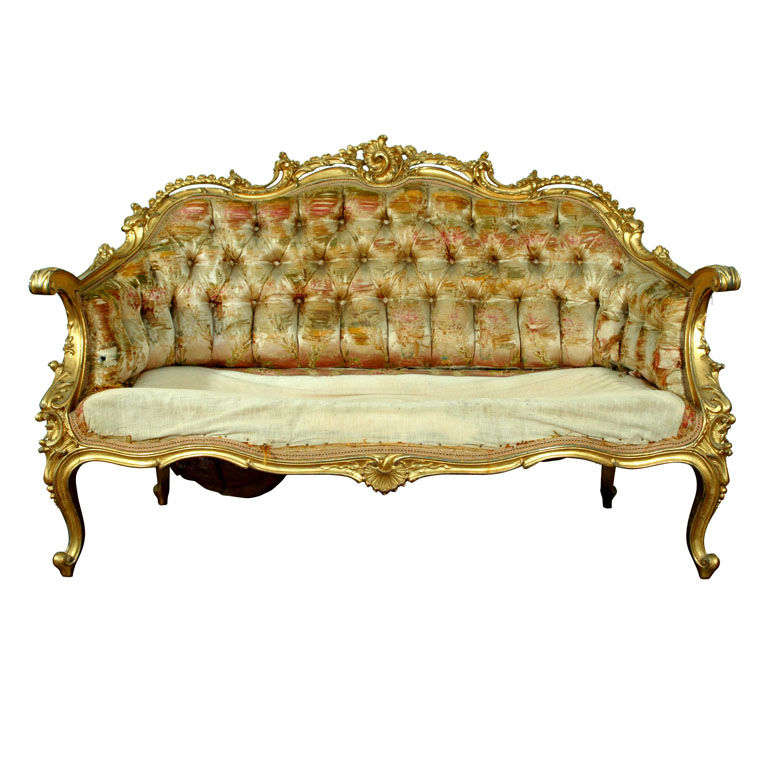 19th century french rococo style louis xv settee at 1stdibs for Antique baroque furniture