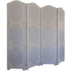 Custom Leather-Upholstered Four-Panel Screen by Dragonette Ltd