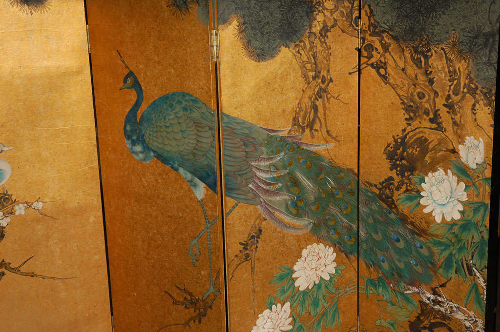 Chinese Hand Painted Four Panel Screen At 1stdibs