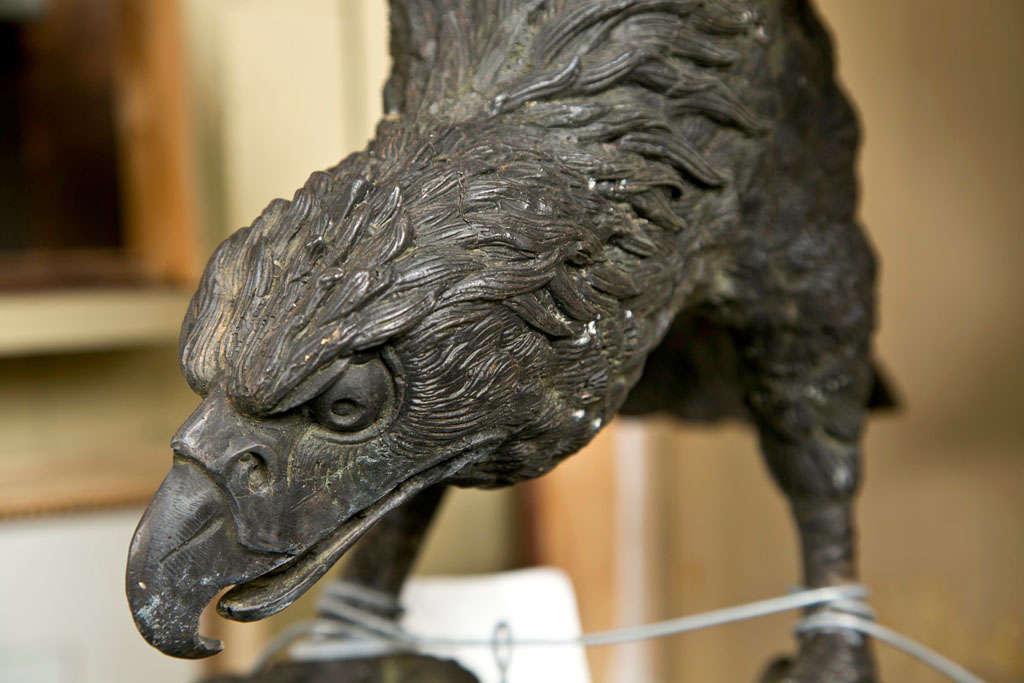 Vintage Bronze Eagle and Dragon Statue For Sale 3