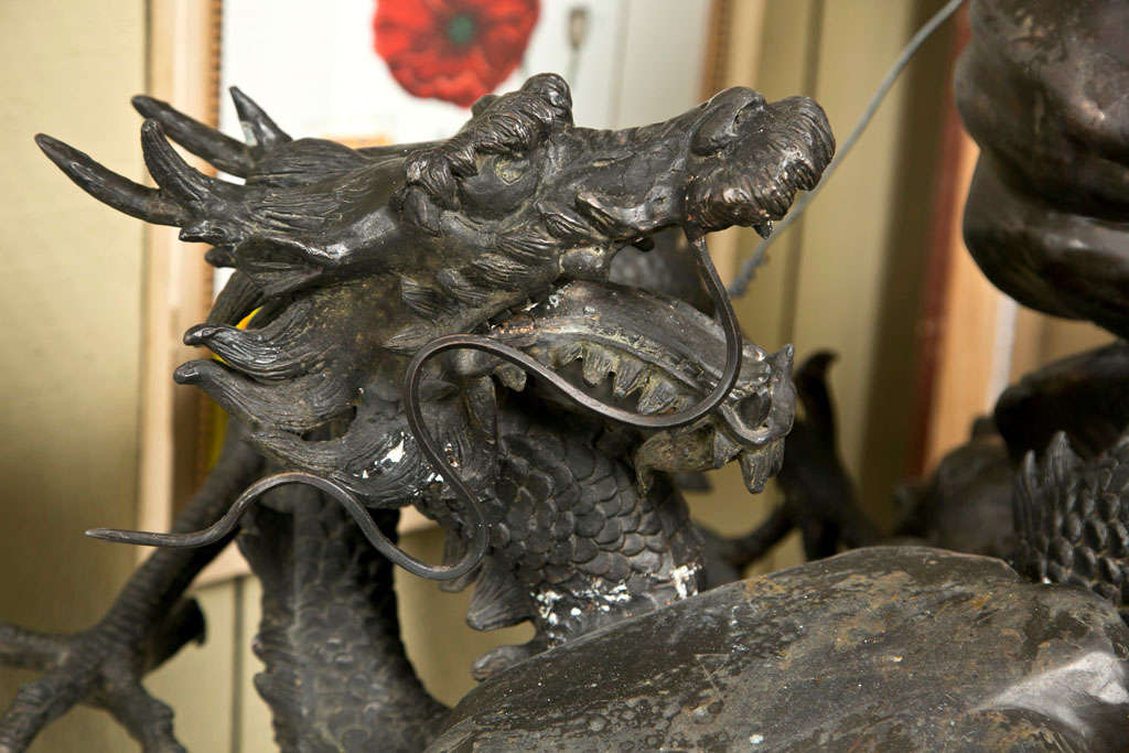 American Vintage Bronze Eagle and Dragon Statue For Sale
