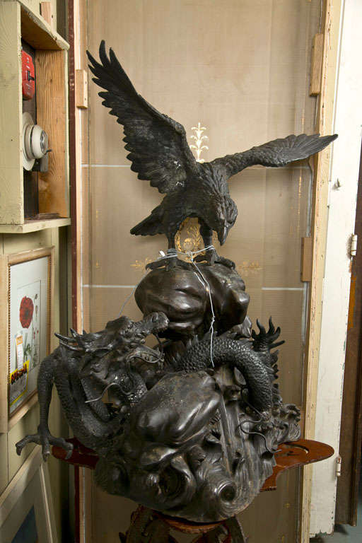 Mid-20th Century Vintage Bronze Eagle and Dragon Statue For Sale