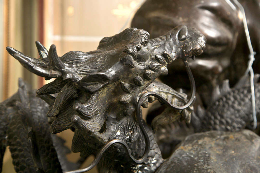 Vintage Bronze Eagle and Dragon Statue For Sale 1