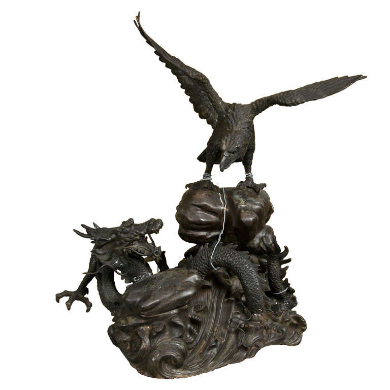 Vintage Bronze Eagle and Dragon Statue For Sale