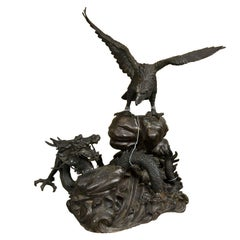 Vintage Bronze Eagle and Dragon Statue