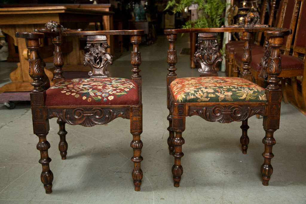 Antique chippendale style mahogany gorgeous corner chairs. Intricate  carvings, details, and design. - Antique Victorian Corner Chairs W/ Cherub Heads At 1stdibs