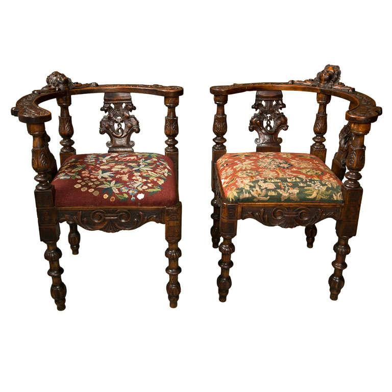 Antique Victorian Corner Chairs W/ Cherub Heads For Sale - Antique Victorian Corner Chairs W/ Cherub Heads At 1stdibs