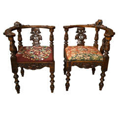 Antique Victorian Corner Chairs W/ Cherub Heads