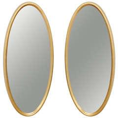 Mid Century Modern Hollywood Regency Glam Gold Leaf Oval Mirror