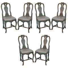 Set of Six 18th c Swedish Dining Chairs