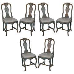 Set of Six 18th c Swedish Dining Chairs