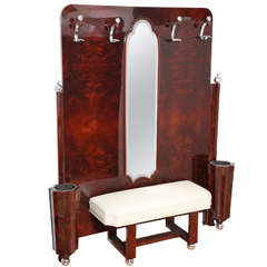 Machine Age Art Deco Umbrella Stand with Mirror, Bench and Coat Hooks