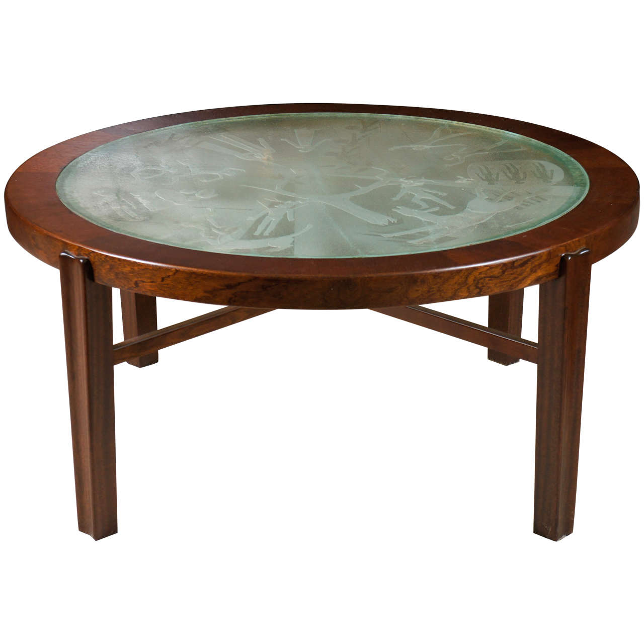 A Fine Swedish Low/Coffee Table with Engraved Glass Top