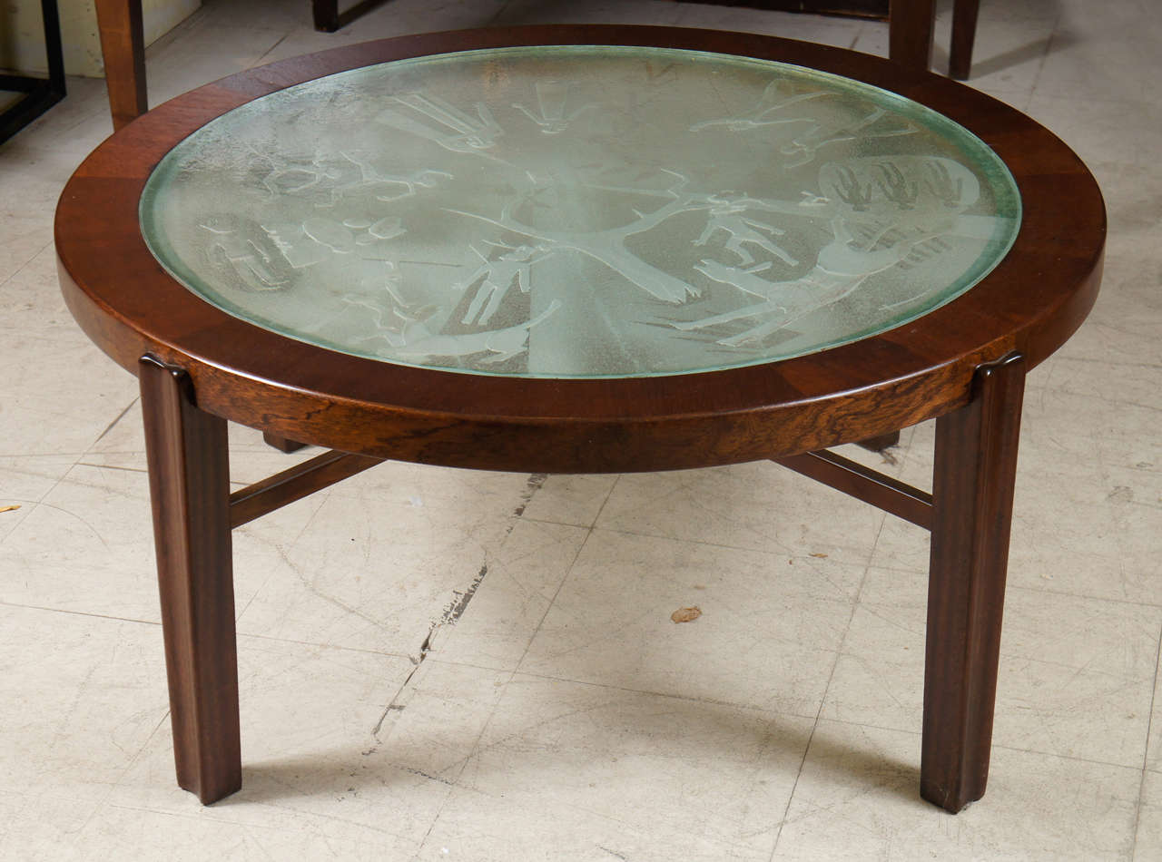 A Fine Swedish Low Coffee Table With Engraved Gl Top