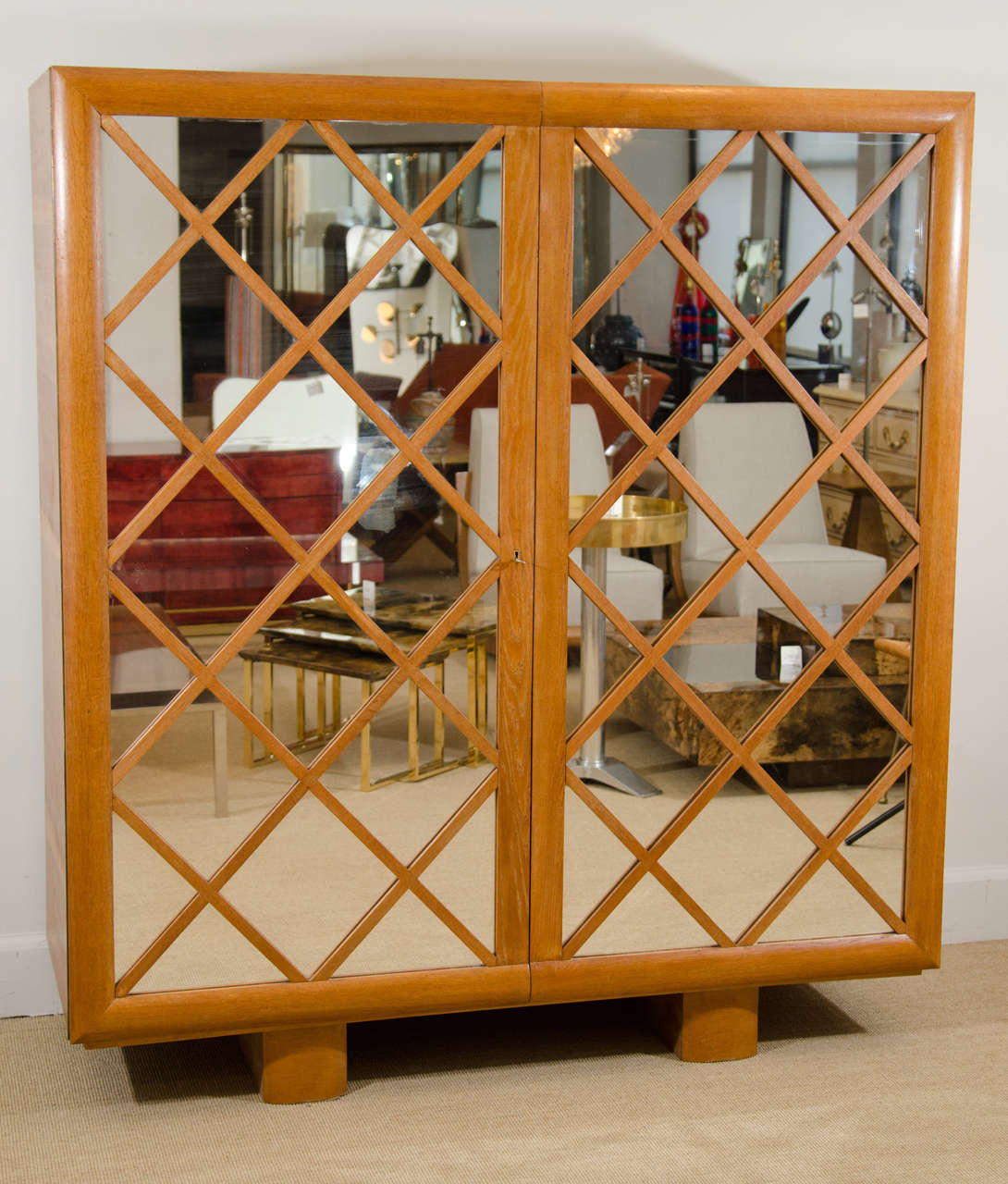 "Large Mirrored Cabinet with ""Diamond Lattice"" Front, France 2"