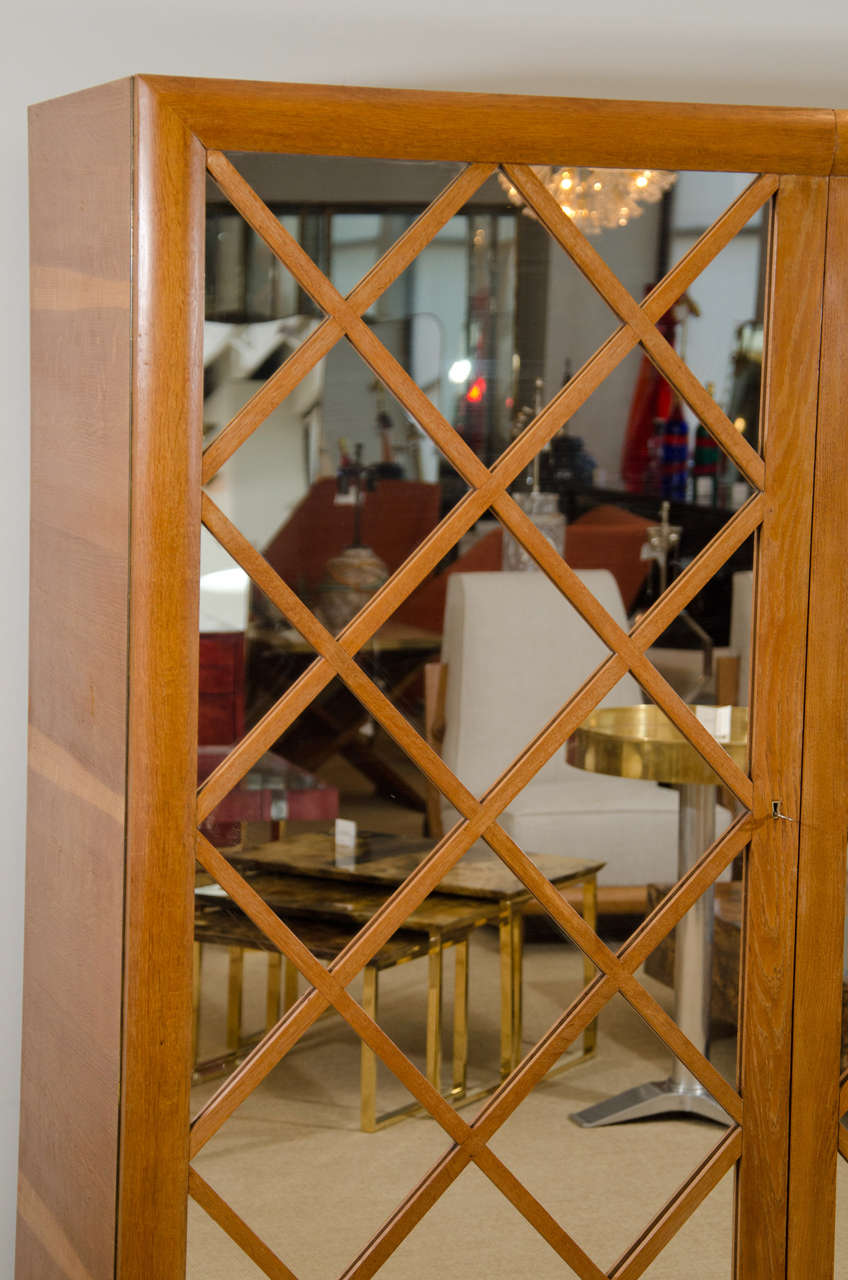 "Large Mirrored Cabinet with ""Diamond Lattice"" Front, France 5"