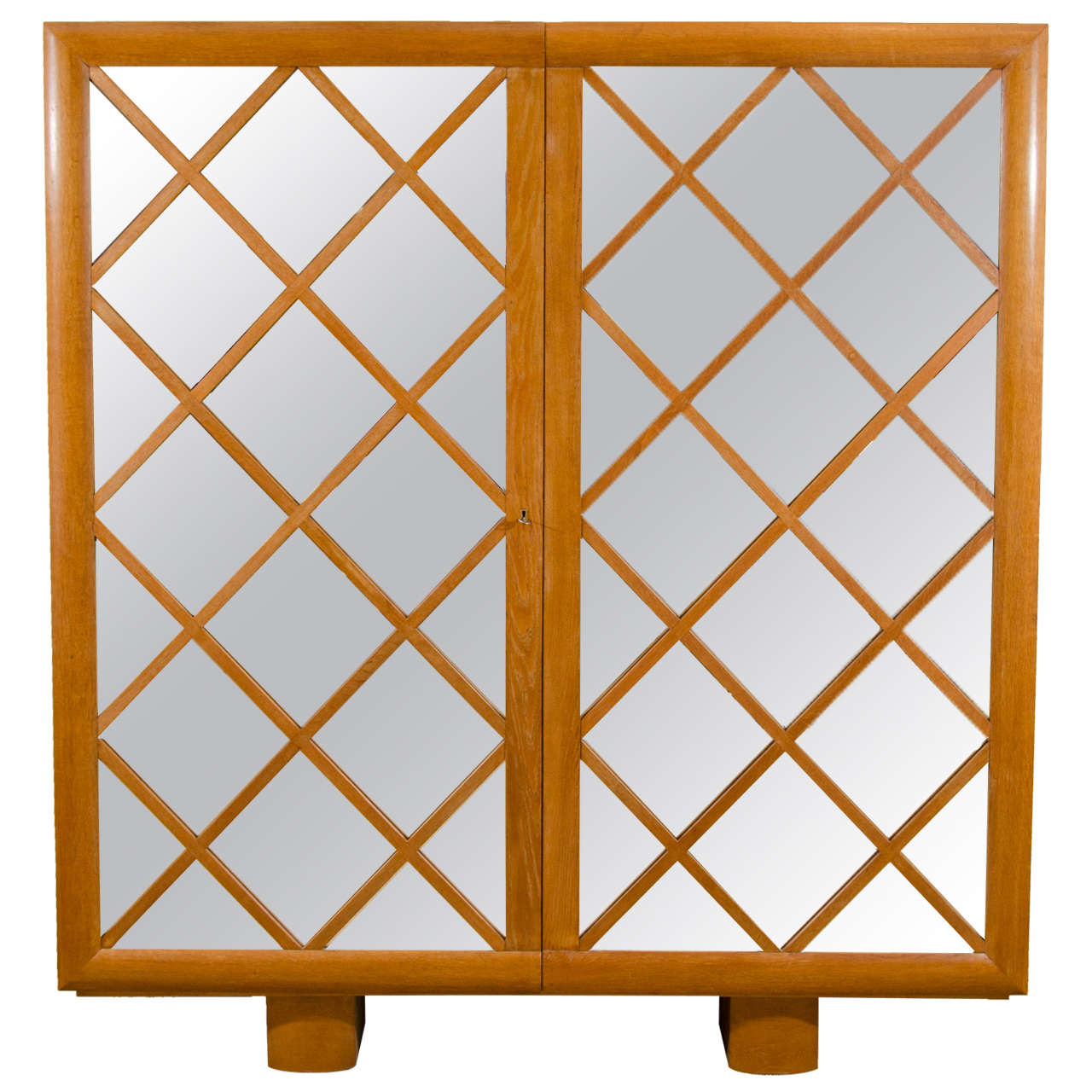 "Large Mirrored Cabinet with ""Diamond Lattice"" Front, France 1"