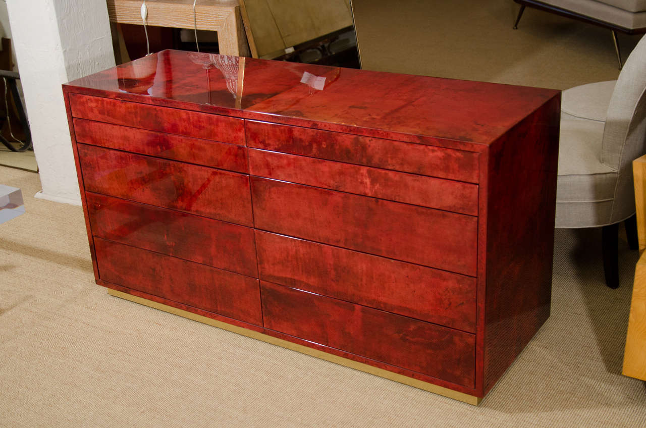 Aldo Tura Red Parchment Commode with Ten Drawers 2