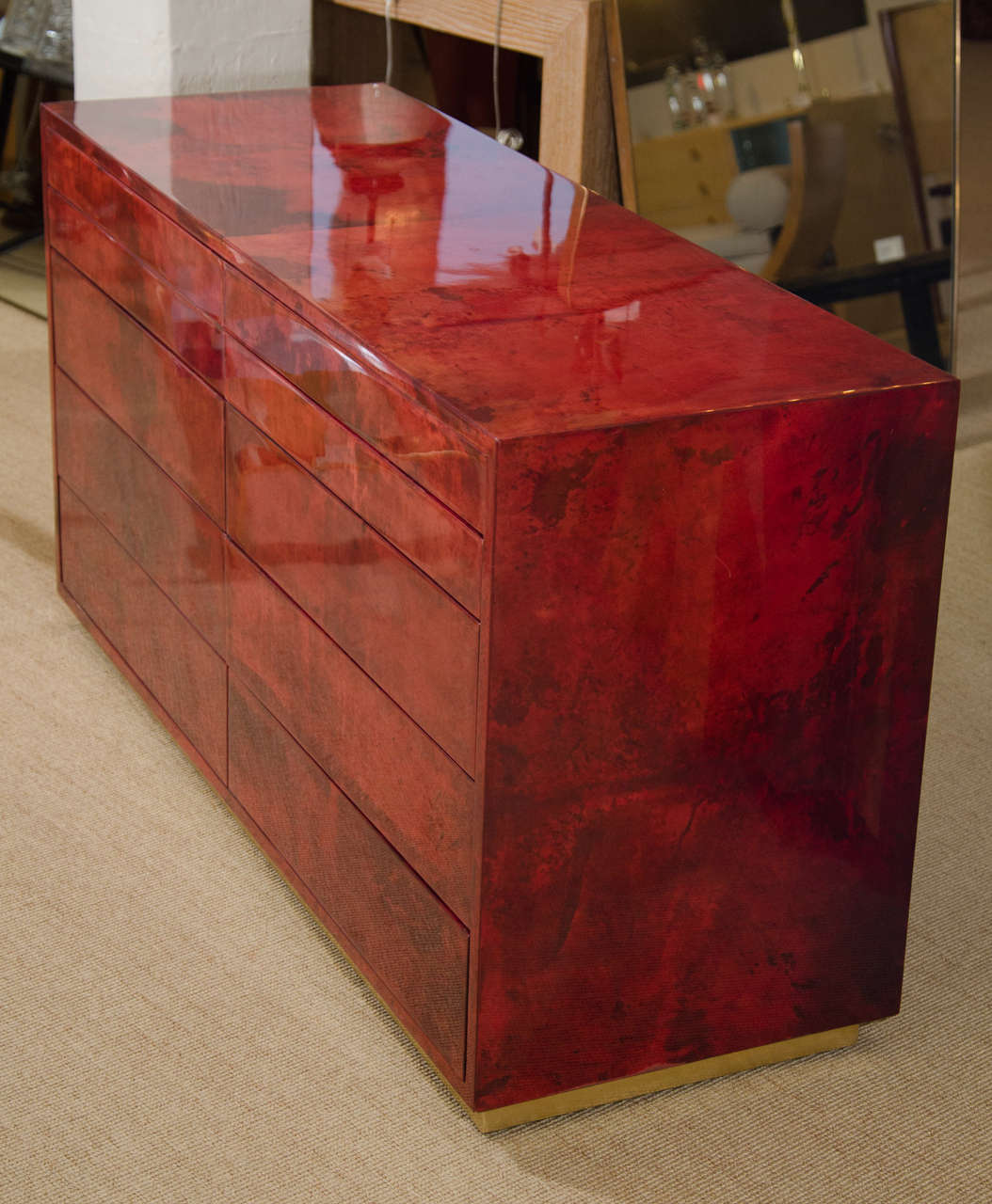 Aldo Tura Red Parchment Commode with Ten Drawers 4