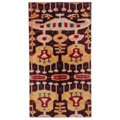 Antique Central Asian Ikat Silk Velvet Textile Panel