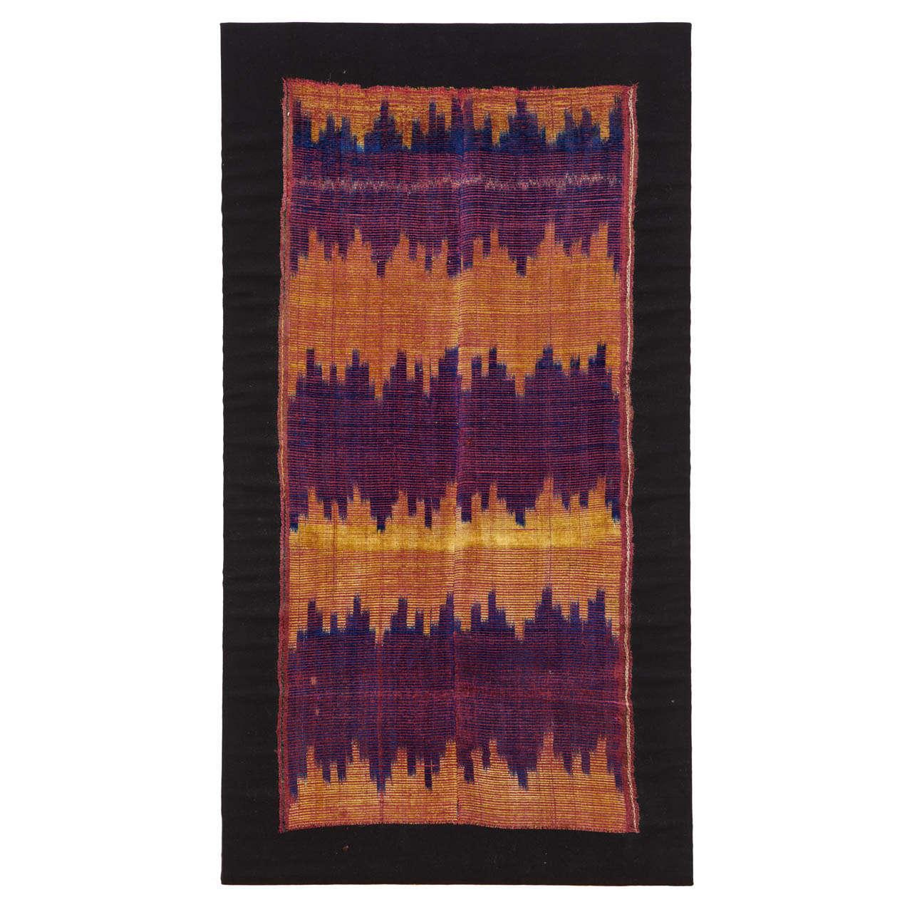 Antique Ikat Silk Velvet Textile