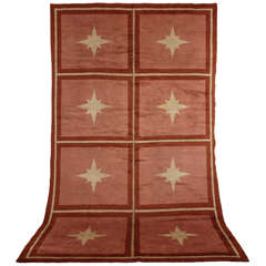 Coral Rose French Art Deco Rug with Stars, 1930s