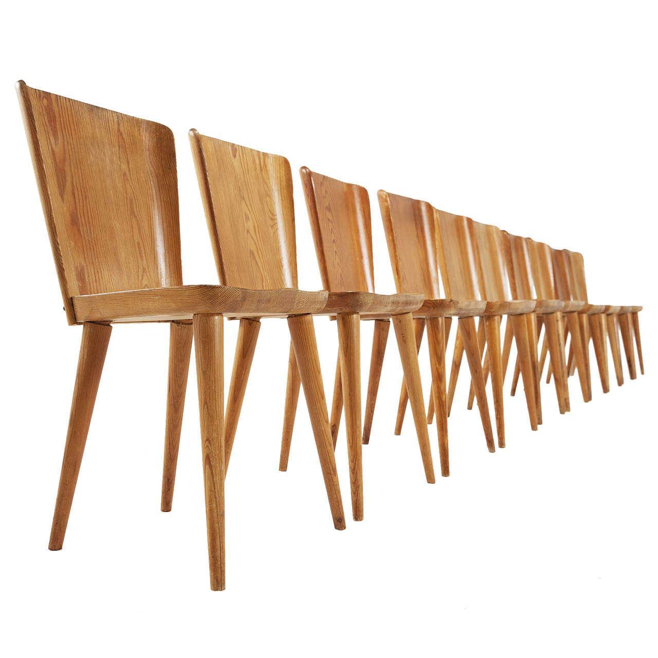 large set 16 pcs of goran malmvall solid pine chairs at 1stdibs