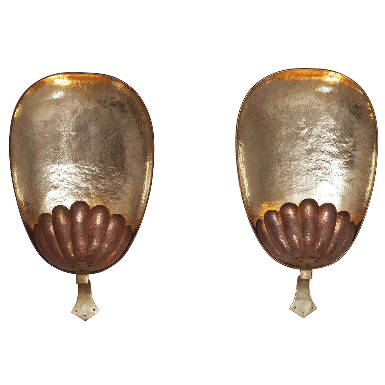 Brass Shell Wall Lights : Very large brass and copper shell wall lamps at 1stdibs