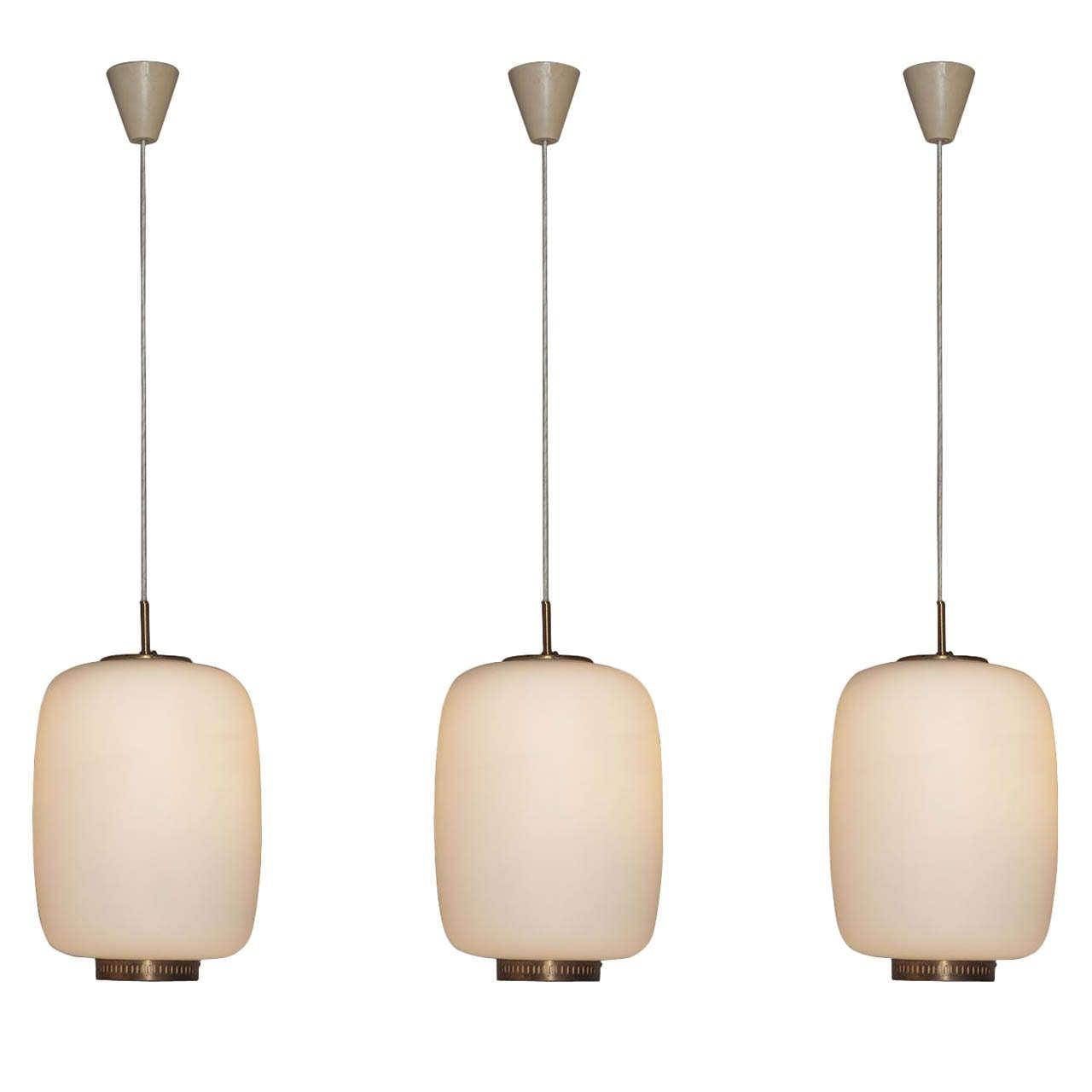 Set of 6 Vilhelm Lauritzen pendants, opaline shade and