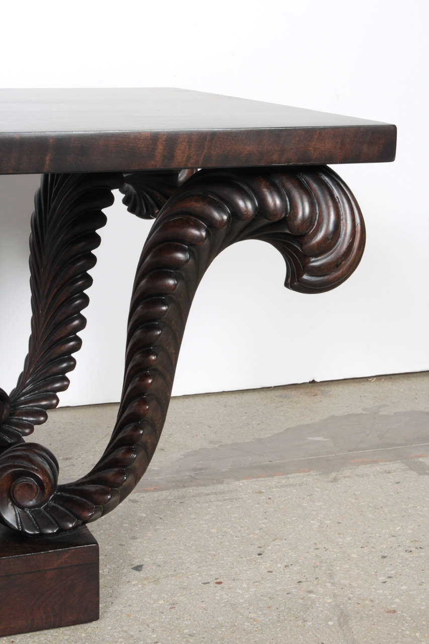 Grosfeld House Carved Walnut Plume Coffee Table 3