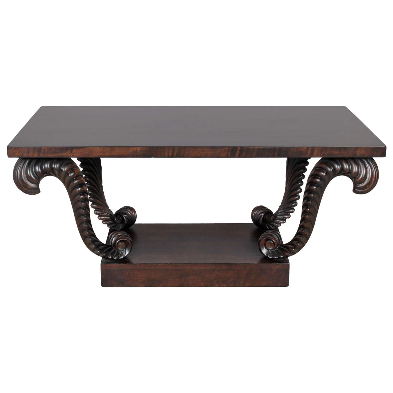Grosfeld House Carved Walnut Plume Coffee Table 1