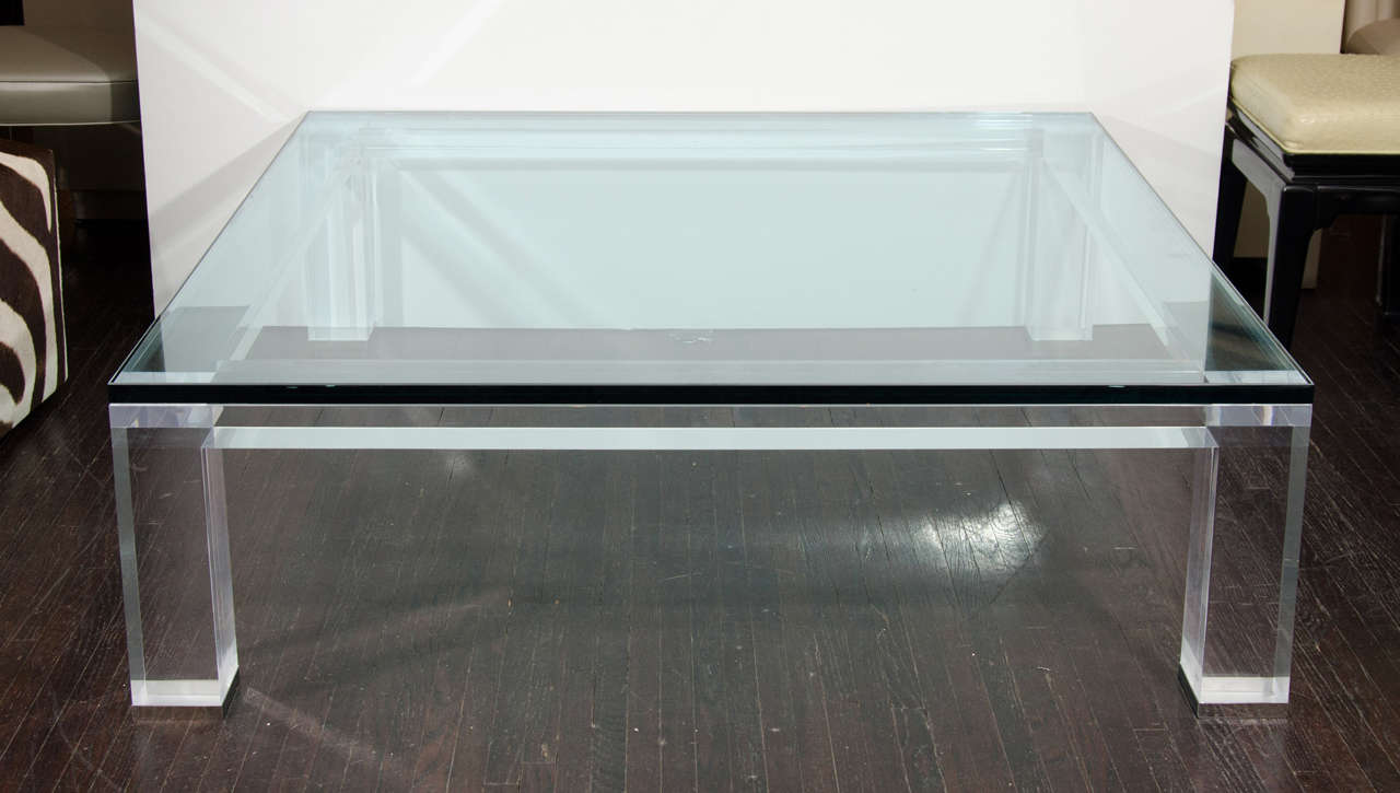 Custom Lucite coffee table with 1