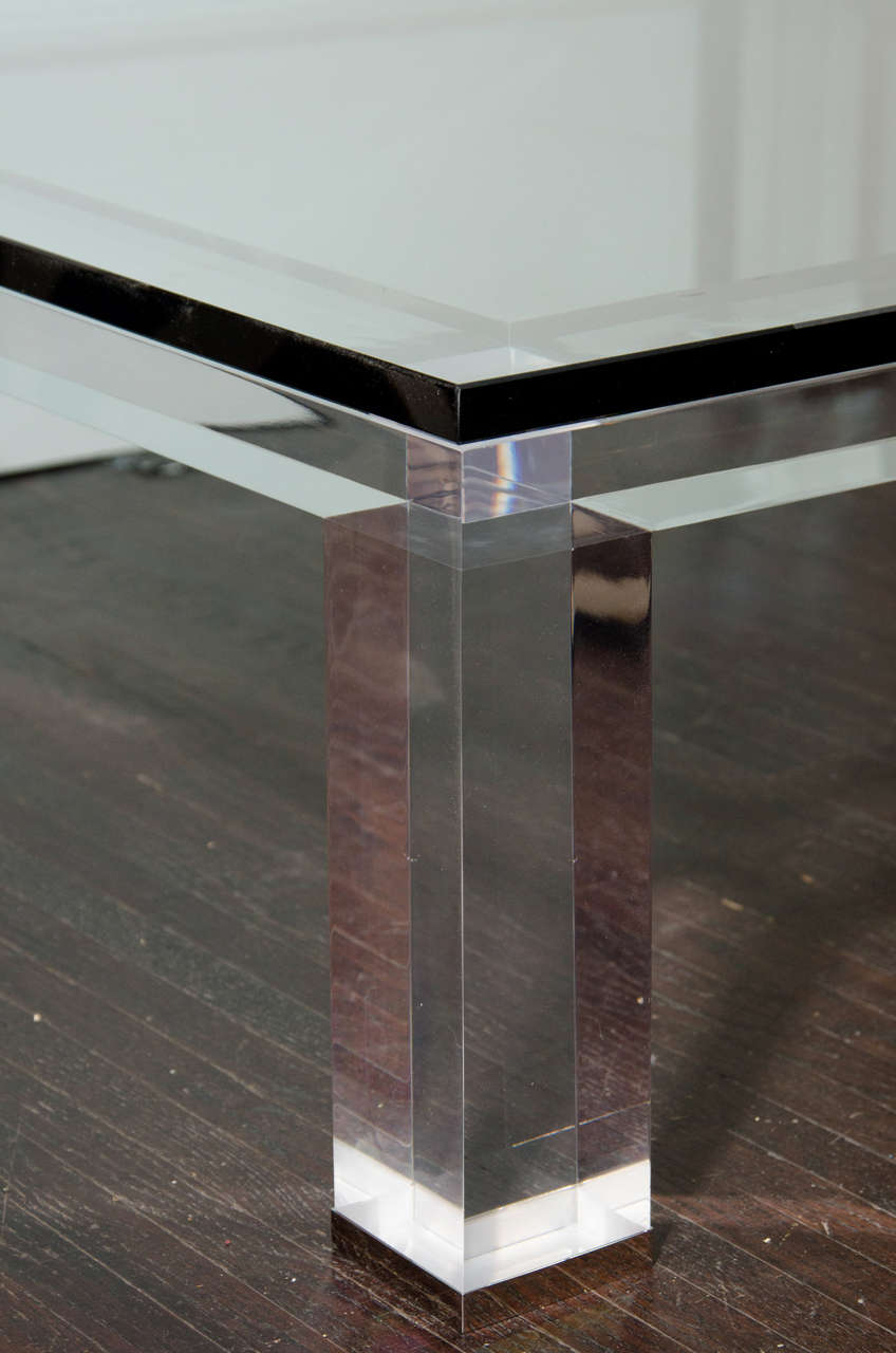 Modern Custom Lucite and Glass Coffee Table For Sale