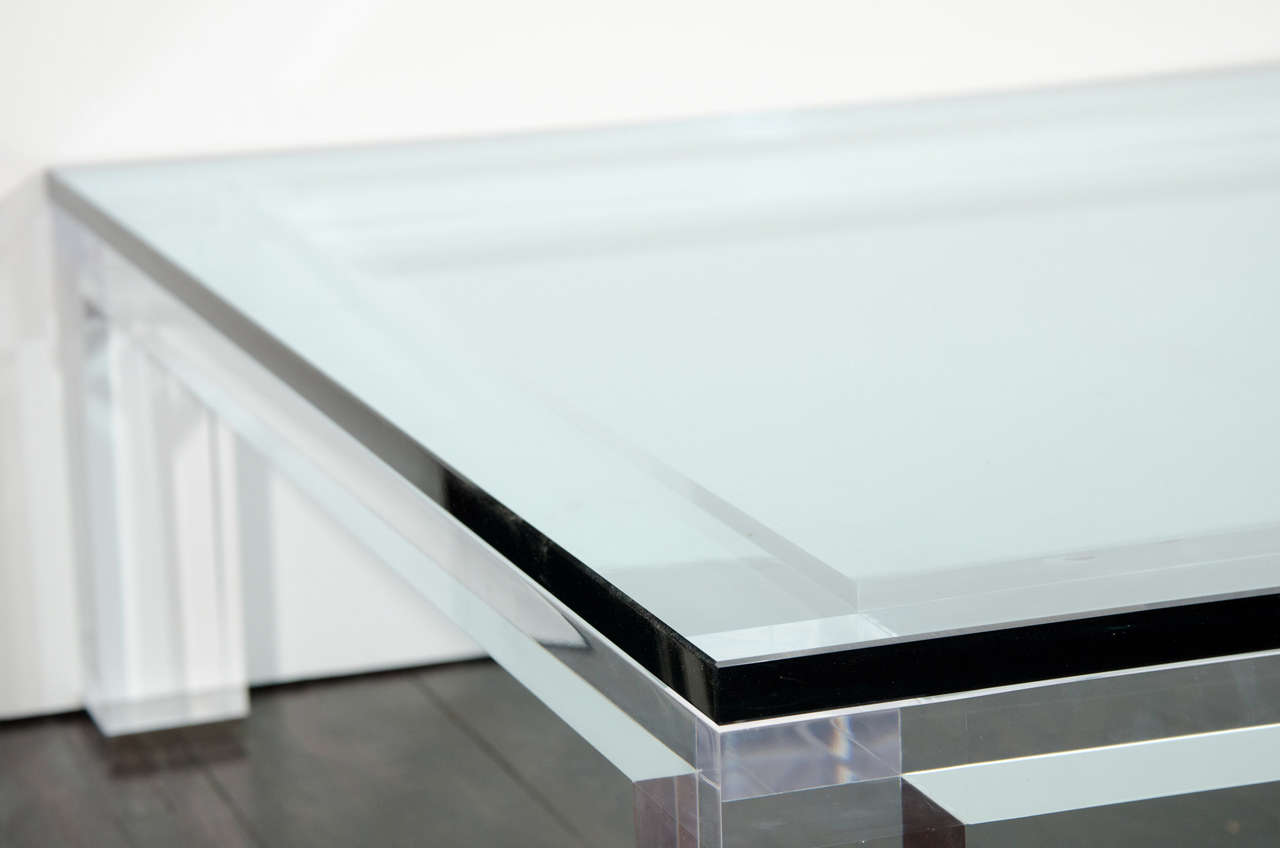 American Custom Lucite and Glass Coffee Table For Sale