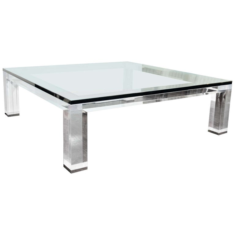Custom Lucite and Glass Coffee Table For Sale