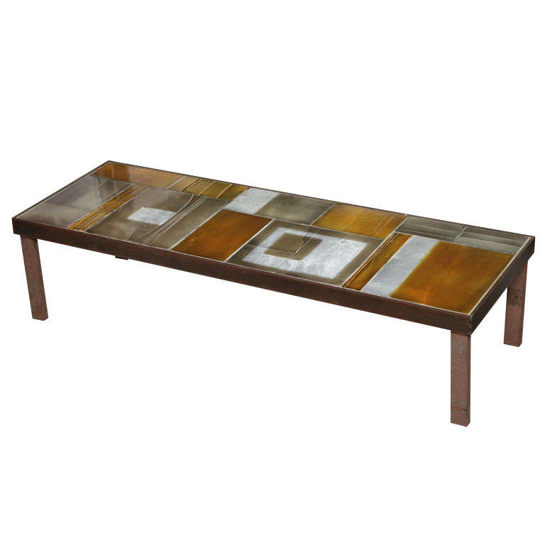 Coffee Table By Roger Capron With Lava Tiles At 1stdibs