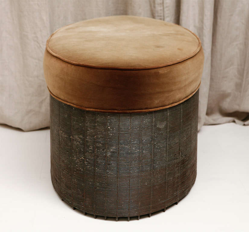Wire And Velvet Oval Ottoman At 1stdibs