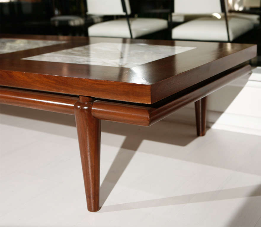 Marquetry Marble Coffee Table: Robsjohn Gibbings For Widdicomb Marble Inlay Coffee Table