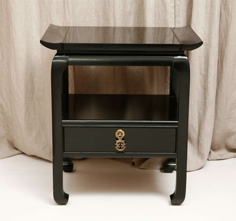Pair Of Black Lacquer Asian Style Kent Coffey Side Tables 2