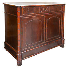 19th Century English Faux Bamboo Cupboard wih Marble Top