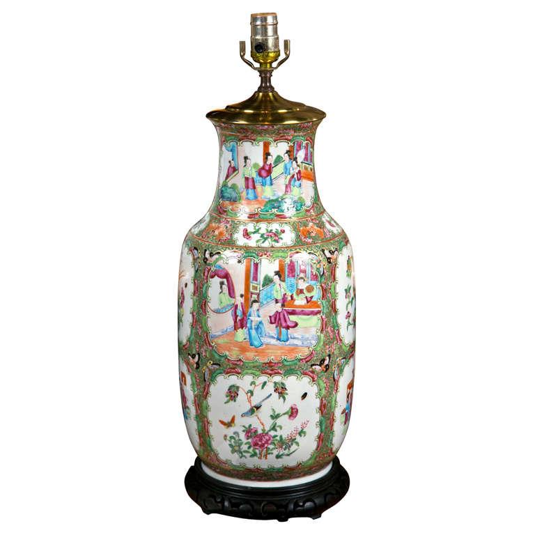 Large Rose Medallion Chinese Porcelain Lamp At 1stdibs